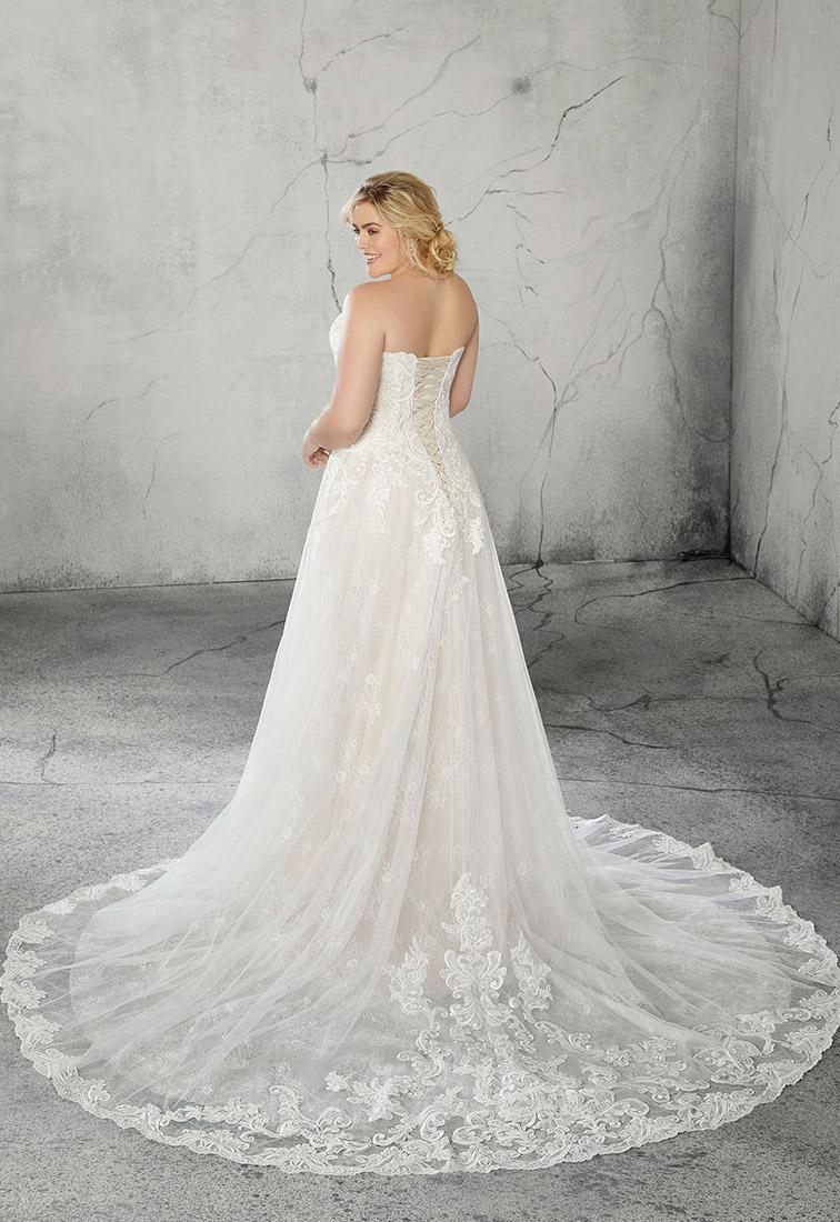 Schulterfreies Brautkleid mit Spitzenbustier Rueckansicht